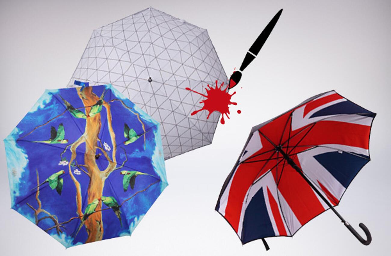 Multi coloured umbrella logo